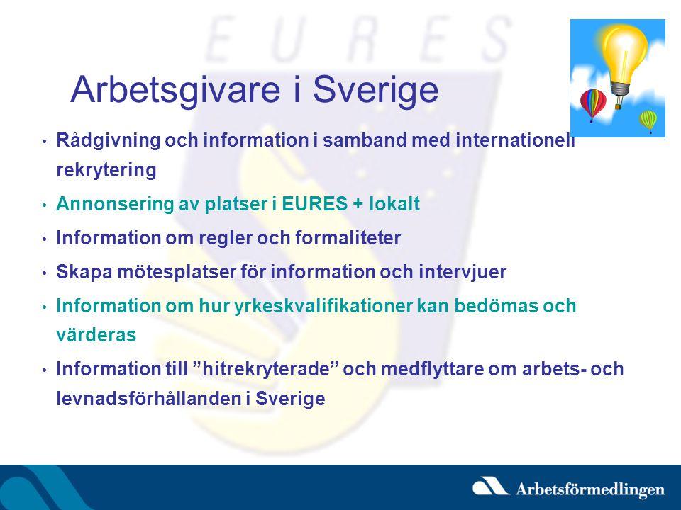 Arbetsgivare i Sverige • Rådgivning och information i samband med internationell rekrytering • Annonsering av platser i EURES + lokalt • Information om regler och formaliteter • Skapa mötesplatser för information och intervjuer • Information om hur yrkeskvalifikationer kan bedömas och värderas • Information till hitrekryterade och medflyttare om arbets- och levnadsförhållanden i Sverige