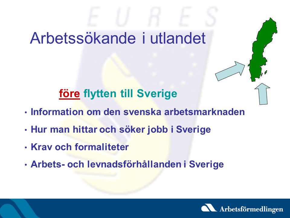 Arbetssökande i utlandet före flytten till Sverige • Information om den svenska arbetsmarknaden • Hur man hittar och söker jobb i Sverige • Krav och f