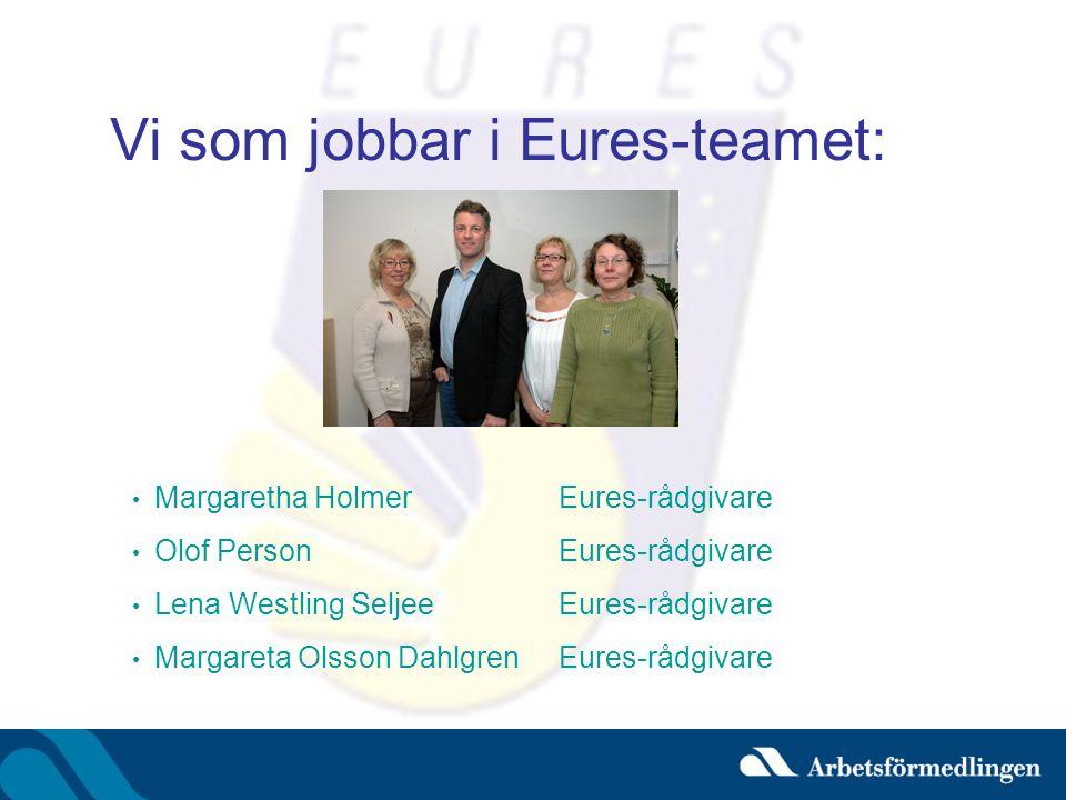 Vi som jobbar i Eures-teamet: • Margaretha HolmerEures-rådgivare • Olof PersonEures-rådgivare • Lena Westling SeljeeEures-rådgivare • Margareta Olsson DahlgrenEures-rådgivare