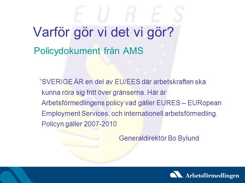"""Varför gör vi det vi gör? Policydokument från AMS """"SVERIGE ÄR en del av EU/EES där arbetskraften ska kunna röra sig fritt över gränserna. Här är Arbet"""