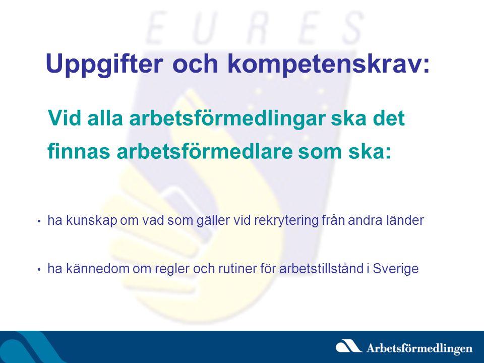 Uppgifter och kompetenskrav: Vid alla arbetsförmedlingar ska det finnas arbetsförmedlare som ska: • ha kunskap om vad som gäller vid rekrytering från andra länder • ha kännedom om regler och rutiner för arbetstillstånd i Sverige