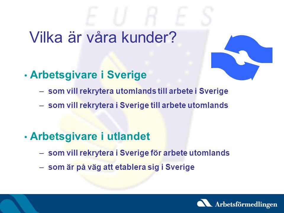 Vilka är våra kunder? • Arbetsgivare i Sverige –som vill rekrytera utomlands till arbete i Sverige –som vill rekrytera i Sverige till arbete utomlands