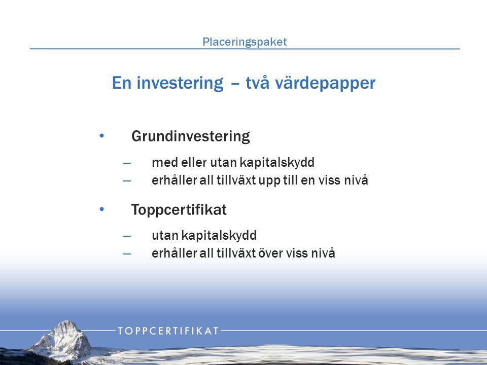 En investering – två värdepapper • Grundinvestering – med eller utan kapitalskydd – erhåller all tillväxt upp till en viss nivå • Toppcertifikat – utan kapitalskydd – erhåller all tillväxt över viss nivå Placeringspaket