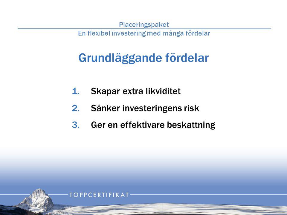 Grundläggande fördelar 1.Skapar extra likviditet 2.Sänker investeringens risk 3.Ger en effektivare beskattning Placeringspaket En flexibel investering med många fördelar