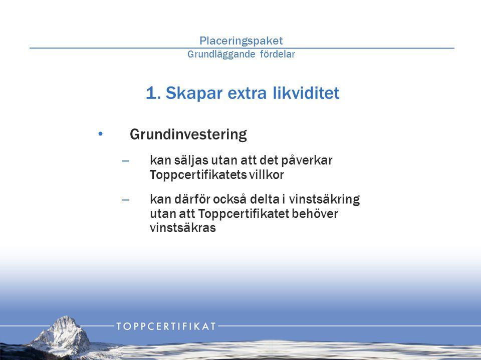 1. Skapar extra likviditet • Grundinvestering – kan säljas utan att det påverkar Toppcertifikatets villkor – kan därför också delta i vinstsäkring uta