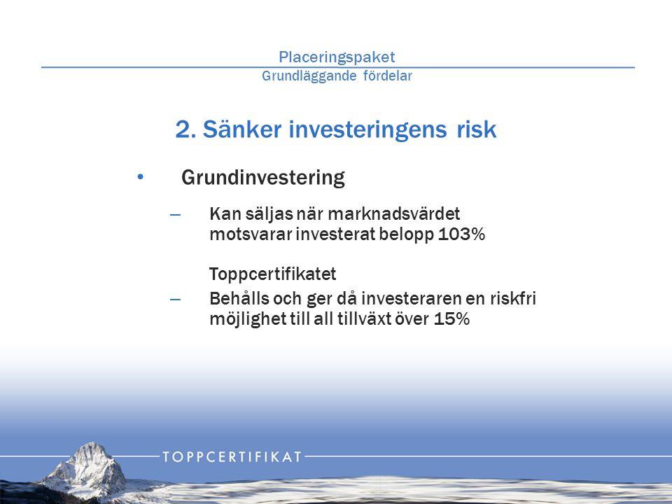 2. Sänker investeringens risk • Grundinvestering – Kan säljas när marknadsvärdet motsvarar investerat belopp 103% Toppcertifikatet – Behålls och ger d