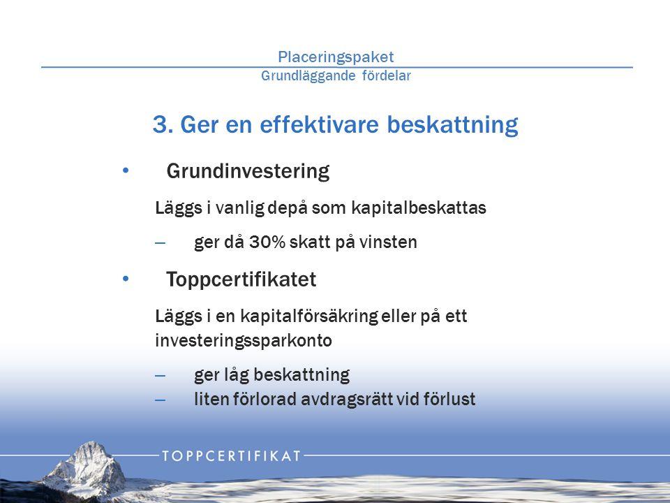3. Ger en effektivare beskattning • Grundinvestering Läggs i vanlig depå som kapitalbeskattas – ger då 30% skatt på vinsten • Toppcertifikatet Läggs i