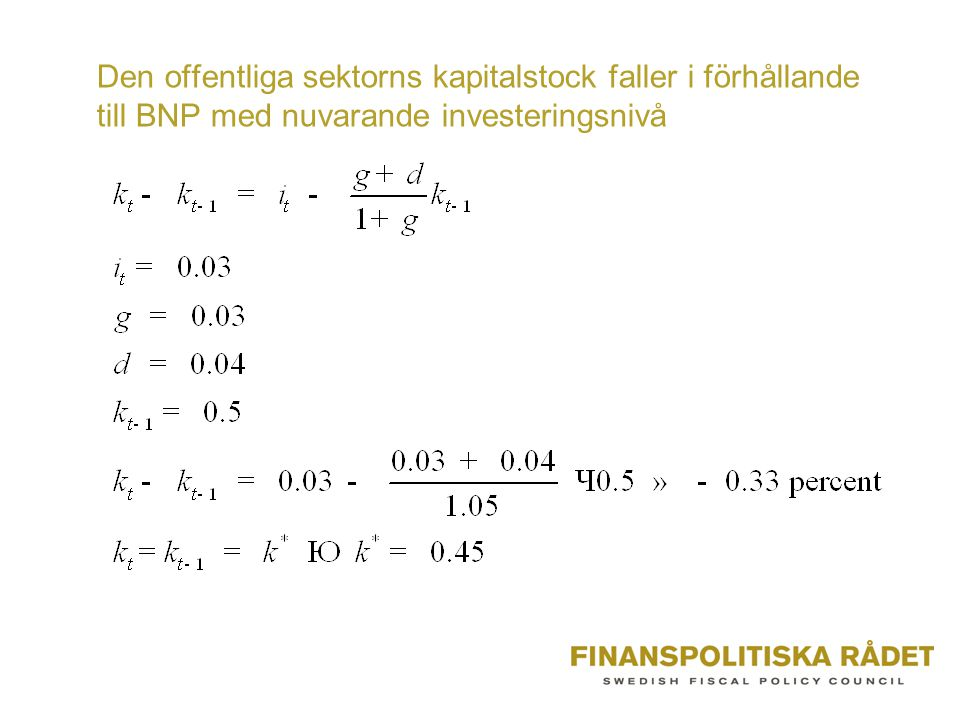 Den offentliga sektorns kapitalstock faller i förhållande till BNP med nuvarande investeringsnivå