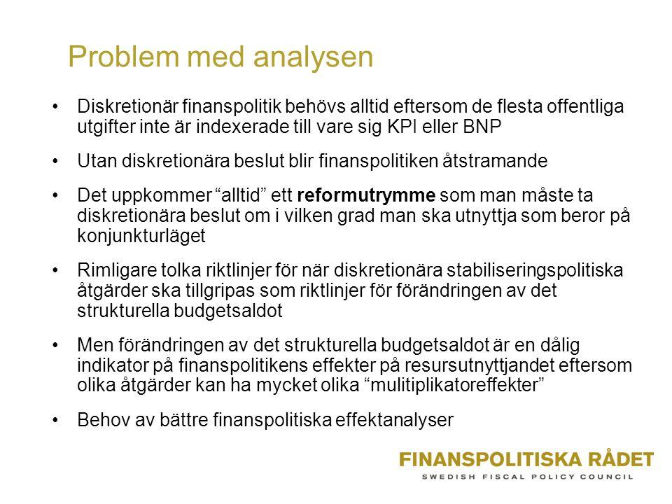 Problem med analysen •Diskretionär finanspolitik behövs alltid eftersom de flesta offentliga utgifter inte är indexerade till vare sig KPI eller BNP •Utan diskretionära beslut blir finanspolitiken åtstramande •Det uppkommer alltid ett reformutrymme som man måste ta diskretionära beslut om i vilken grad man ska utnyttja som beror på konjunkturläget •Rimligare tolka riktlinjer för när diskretionära stabiliseringspolitiska åtgärder ska tillgripas som riktlinjer för förändringen av det strukturella budgetsaldot •Men förändringen av det strukturella budgetsaldot är en dålig indikator på finanspolitikens effekter på resursutnyttjandet eftersom olika åtgärder kan ha mycket olika mulitiplikatoreffekter •Behov av bättre finanspolitiska effektanalyser