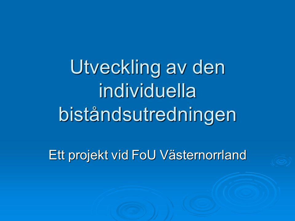 Utveckling av den individuella biståndsutredningen Ett projekt vid FoU Västernorrland