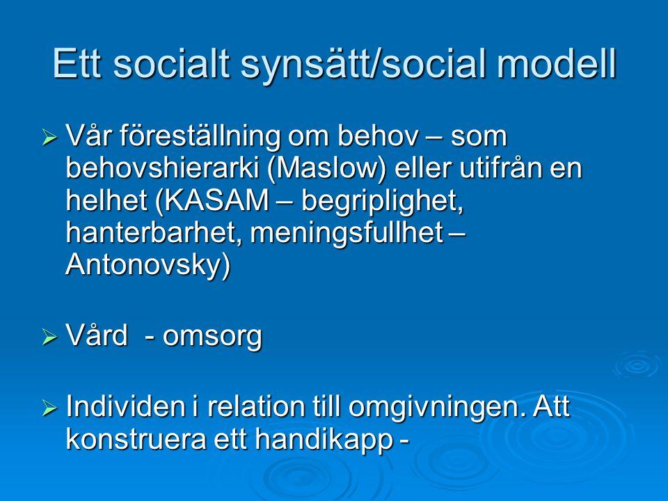 Ett socialt synsätt/social modell  Vår föreställning om behov – som behovshierarki (Maslow) eller utifrån en helhet (KASAM – begriplighet, hanterbarhet, meningsfullhet – Antonovsky)  Vård - omsorg  Individen i relation till omgivningen.