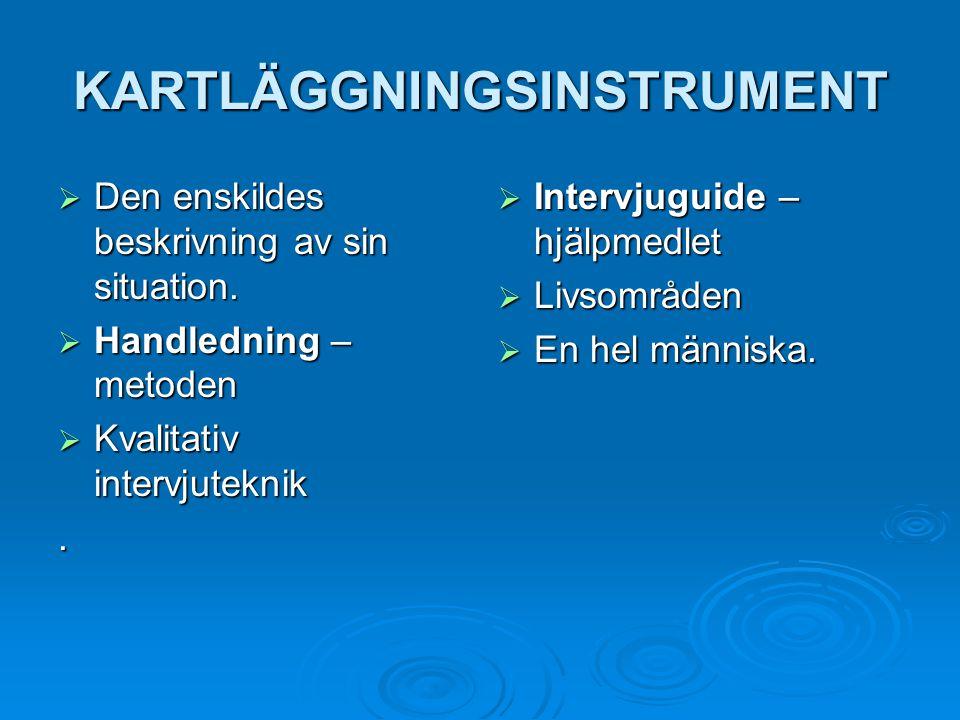 KARTLÄGGNINGSINSTRUMENT  Den enskildes beskrivning av sin situation.