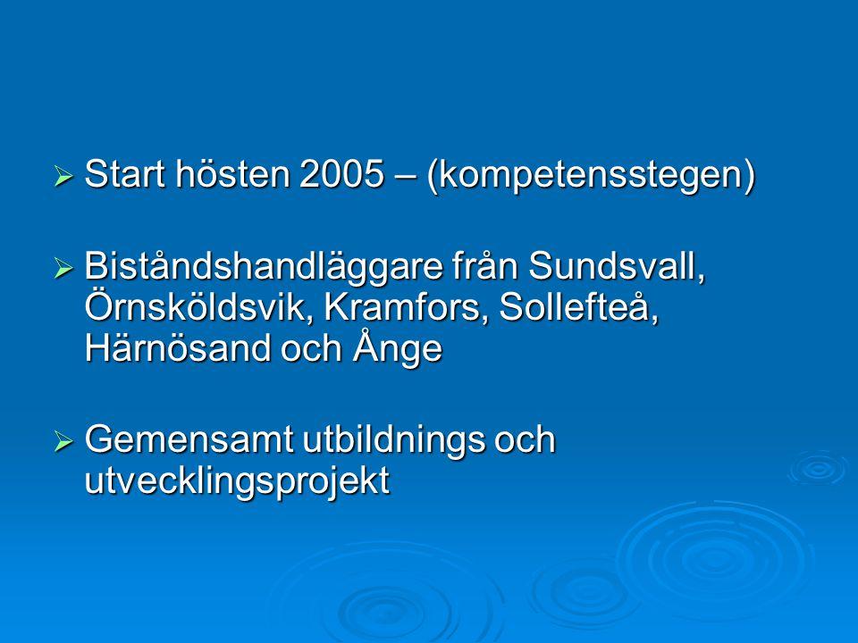  Start hösten 2005 – (kompetensstegen)  Biståndshandläggare från Sundsvall, Örnsköldsvik, Kramfors, Sollefteå, Härnösand och Ånge  Gemensamt utbildnings och utvecklingsprojekt