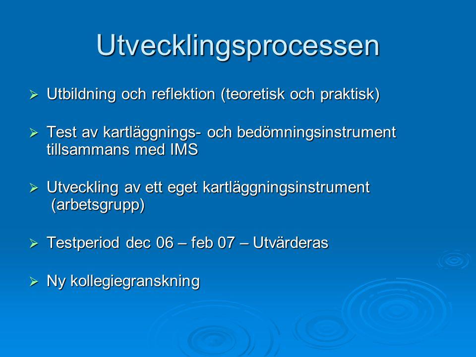 Utvecklingsprocessen  Utbildning och reflektion (teoretisk och praktisk)  Test av kartläggnings- och bedömningsinstrument tillsammans med IMS  Utveckling av ett eget kartläggningsinstrument (arbetsgrupp)  Utveckling av ett eget kartläggningsinstrument (arbetsgrupp)  Testperiod dec 06 – feb 07 – Utvärderas  Ny kollegiegranskning