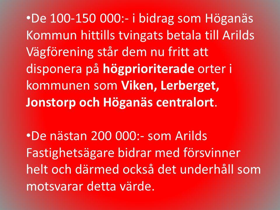 • De 100-150 000:- i bidrag som Höganäs Kommun hittills tvingats betala till Arilds Vägförening står dem nu fritt att disponera på högprioriterade ort