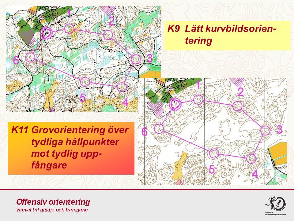 K9Lätt kurvbildsorien- tering K11Grovorientering över tydliga hållpunkter mot tydlig upp- fångare