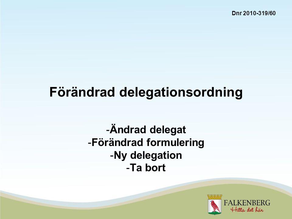 Förändrad delegationsordning -Ändrad delegat -Förändrad formulering -Ny delegation -Ta bort Dnr 2010-319/60