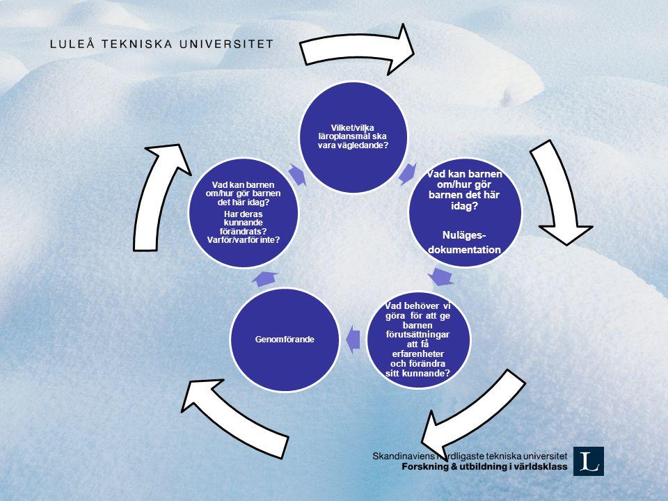Vilket/vilka läroplansmål ska vara vägledande? Vad kan barnen om/hur gör barnen det här idag? Nuläges- dokumentation Vad behöver vi göra för att ge ba
