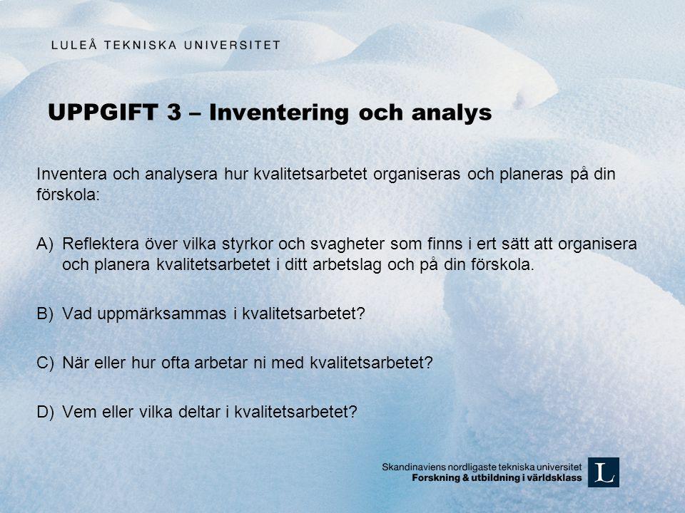 UPPGIFT 3 – Inventering och analys Inventera och analysera hur kvalitetsarbetet organiseras och planeras på din förskola: A)Reflektera över vilka styr