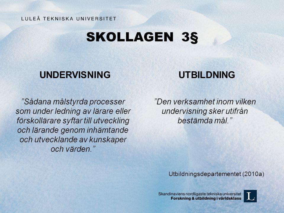 """SKOLLAGEN 3§ UNDERVISNING """"Sådana målstyrda processer som under ledning av lärare eller förskollärare syftar till utveckling och lärande genom inhämta"""