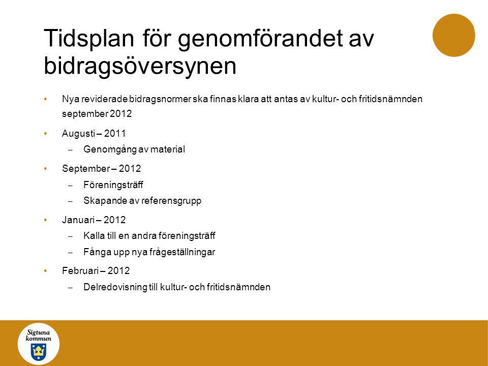 Tidsplan för genomförandet av bidragsöversynen •Nya reviderade bidragsnormer ska finnas klara att antas av kultur- och fritidsnämnden september 2012 •