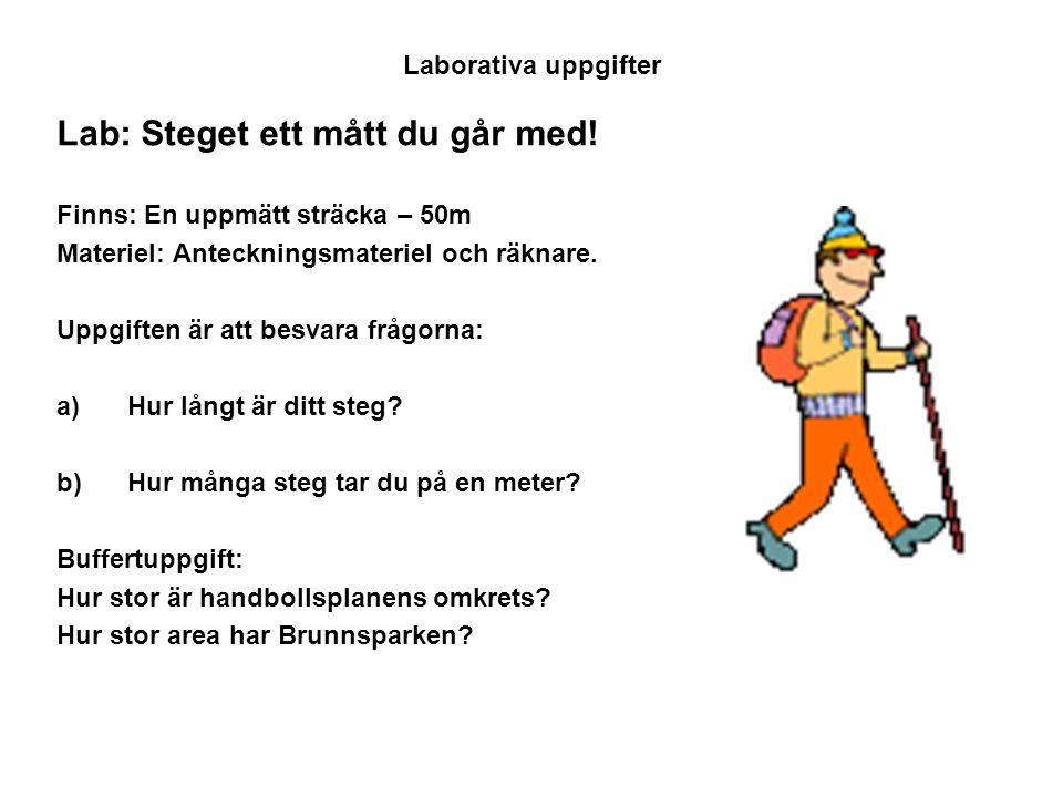 Laborativa uppgifter Lab: Steget ett mått du går med! Finns: En uppmätt sträcka – 50m Materiel: Anteckningsmateriel och räknare. Uppgiften är att besv