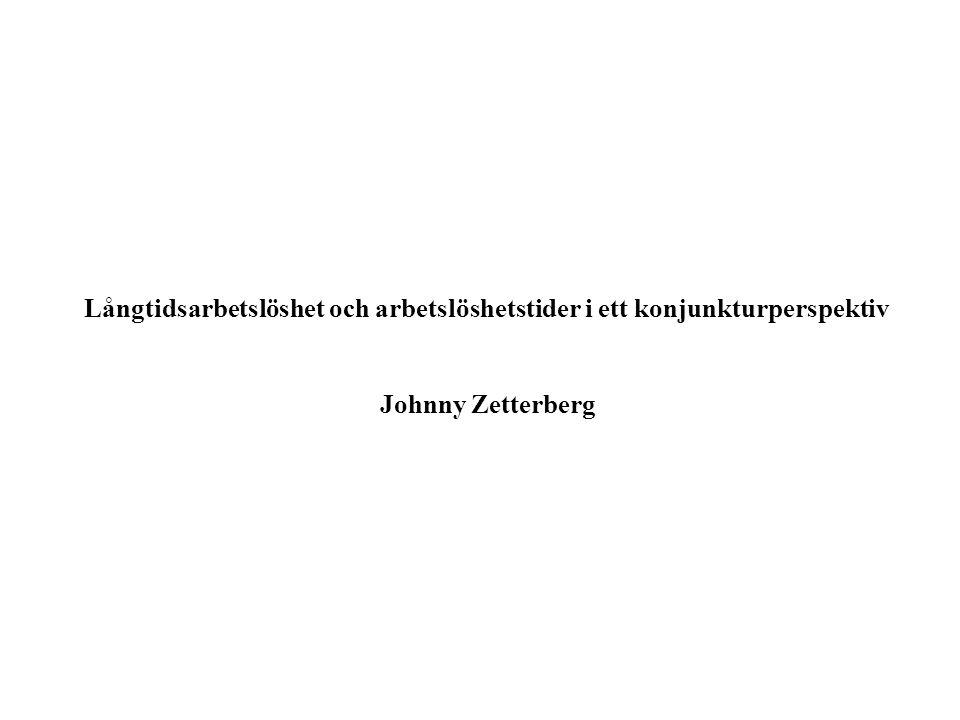 Långtidsarbetslöshet och arbetslöshetstider i ett konjunkturperspektiv Johnny Zetterberg