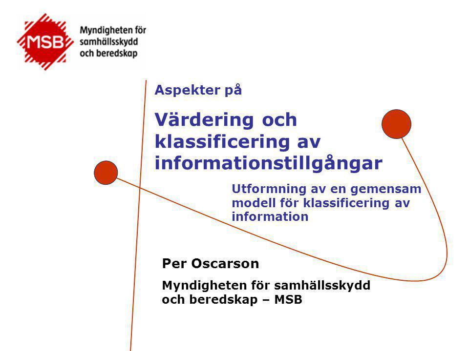Per Oscarson •Handläggare på MSB:s Informationssäkerhetsenhet  Handlingsplan för samhällets informationssäkerhet  Strategi för samhällets informationssäkerhet (pågående) •Forskare (post doc) vid Svenska Handelshögskolan på Örebro universitet (värdering av informationstillgångar) •Medlem i SIS tekniska kommitté 318 och ISO/IEC JTC 1 SC 27 – (främst 27004, revision av 27001 och 27002) •Fil lic och fil dr på Linköpings universitet Informationssäkerhet i verksamheter (2001) Actual and Perceived Information Systems Security (2007) •Har tidigare varit universitetsadjunkt och konsult