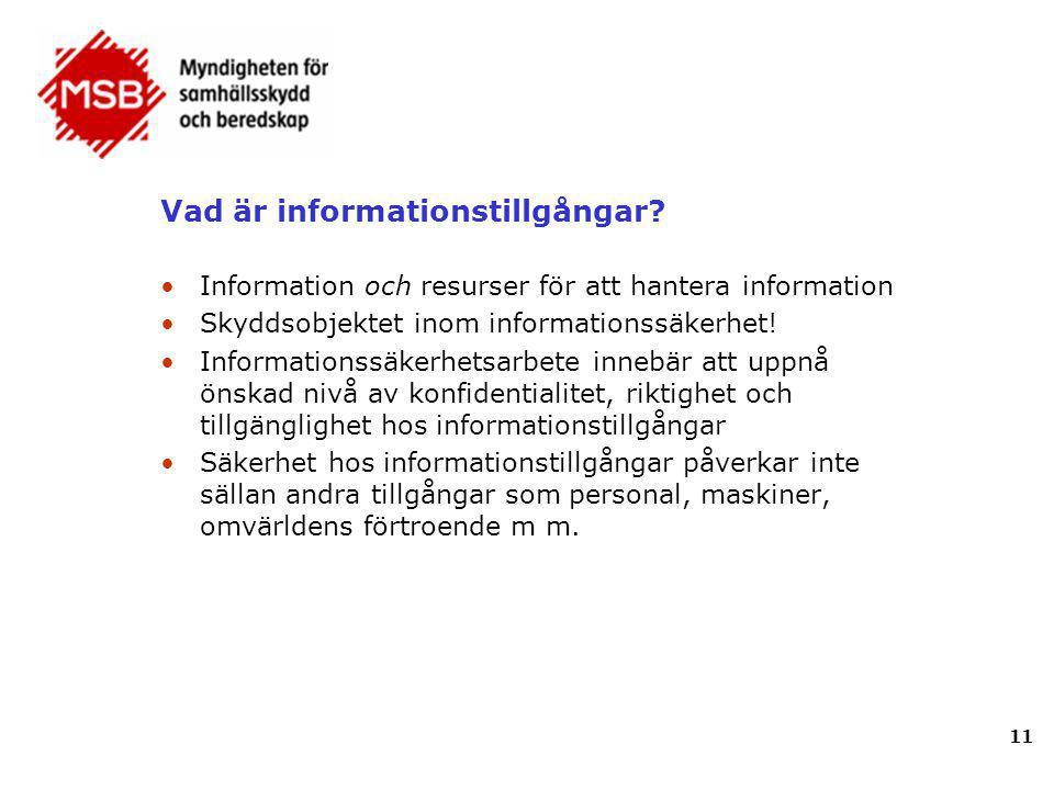 Vad är informationstillgångar? •Information och resurser för att hantera information •Skyddsobjektet inom informationssäkerhet! •Informationssäkerhets