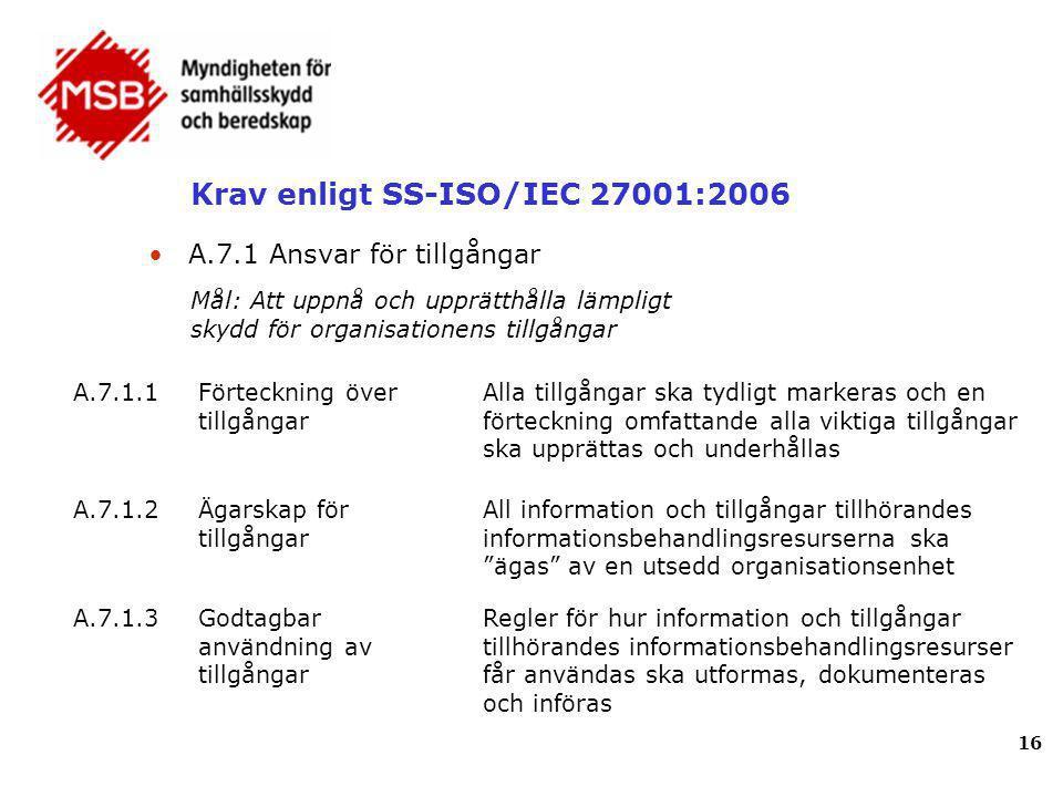 Krav enligt SS-ISO/IEC 27001:2006 16 A.7.1.1Förteckning över tillgångar Alla tillgångar ska tydligt markeras och en förteckning omfattande alla viktig