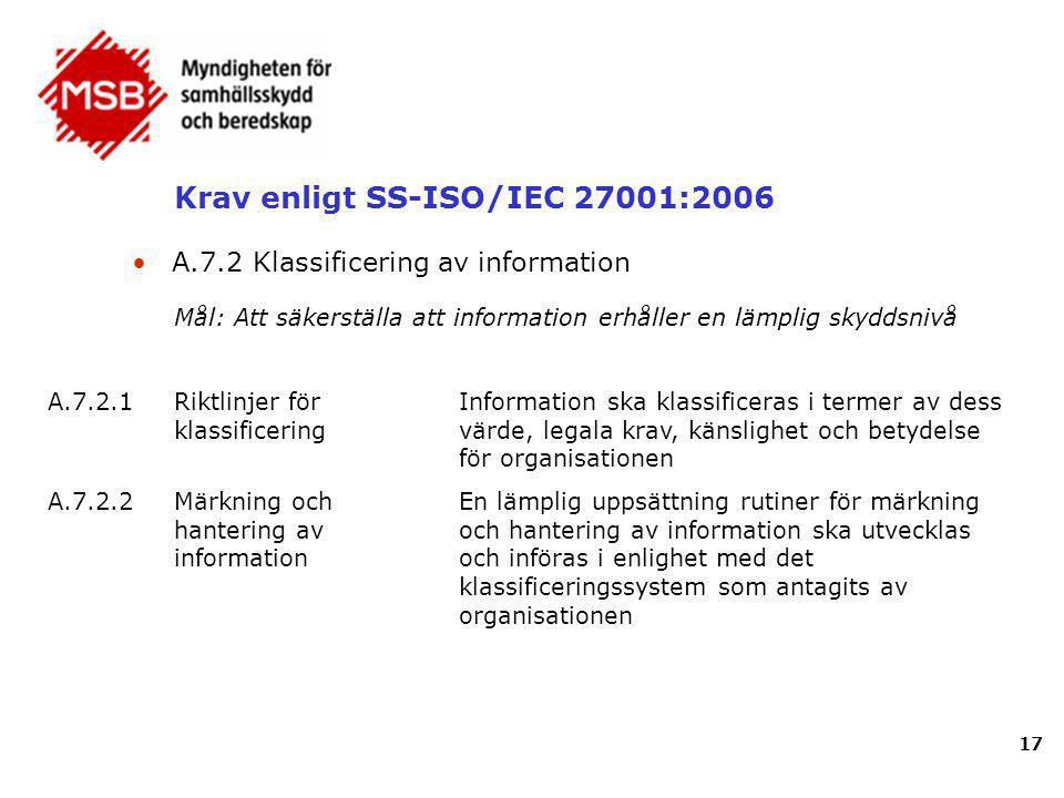 Krav enligt SS-ISO/IEC 27001:2006 17 A.7.2.1Riktlinjer för klassificering Information ska klassificeras i termer av dess värde, legala krav, känslighe