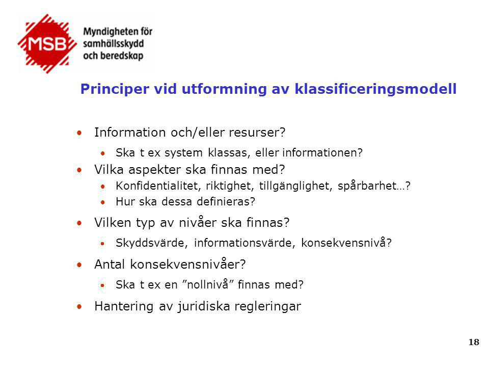 Principer vid utformning av klassificeringsmodell •Information och/eller resurser? Ska t ex system klassas, eller informationen? •Vilka aspekter ska