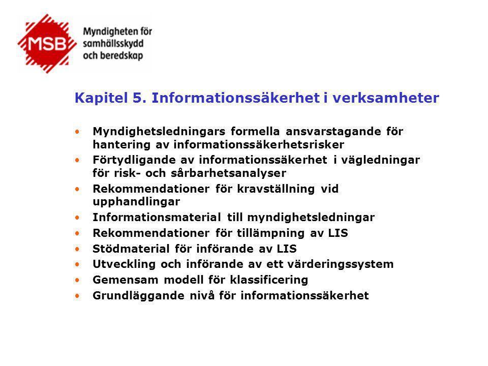 Kapitel 5. Informationssäkerhet i verksamheter •Myndighetsledningars formella ansvarstagande för hantering av informationssäkerhetsrisker •Förtydligan