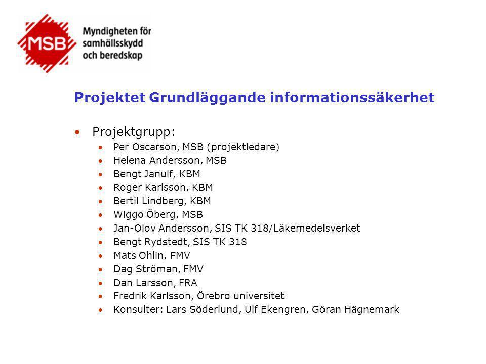 Projektet Grundläggande informationssäkerhet •Projektgrupp: Per Oscarson, MSB (projektledare) Helena Andersson, MSB Bengt Janulf, KBM Roger Karlss