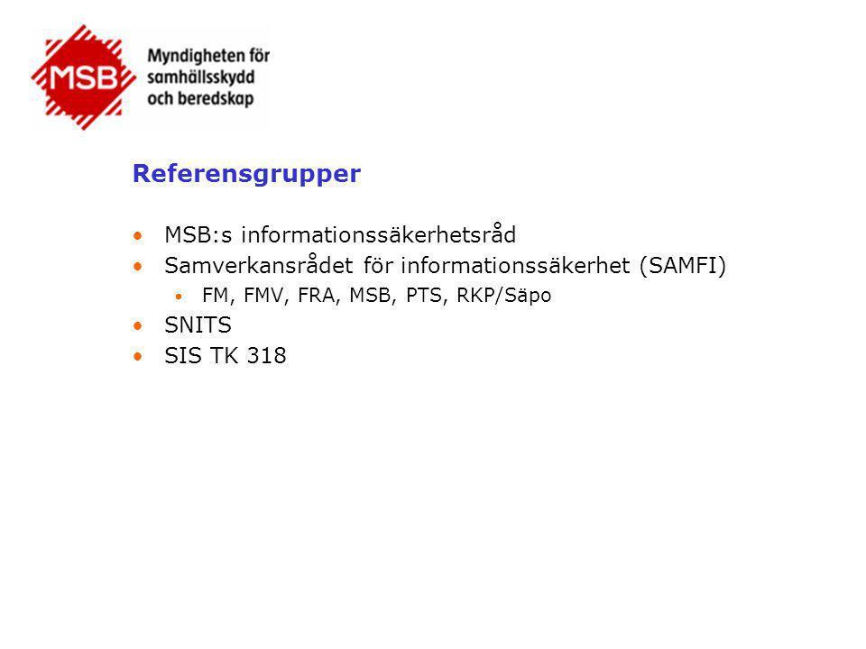 Referensgrupper •MSB:s informationssäkerhetsråd •Samverkansrådet för informationssäkerhet (SAMFI)  FM, FMV, FRA, MSB, PTS, RKP/Säpo •SNITS •SIS TK 31