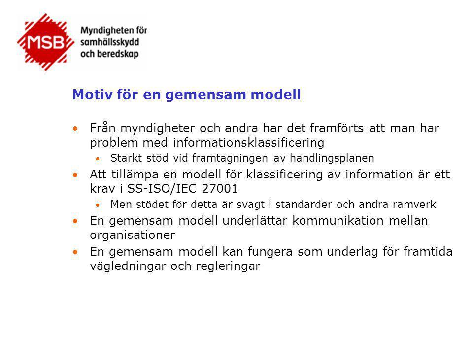 Motiv för en gemensam modell •Från myndigheter och andra har det framförts att man har problem med informationsklassificering  Starkt stöd vid framta
