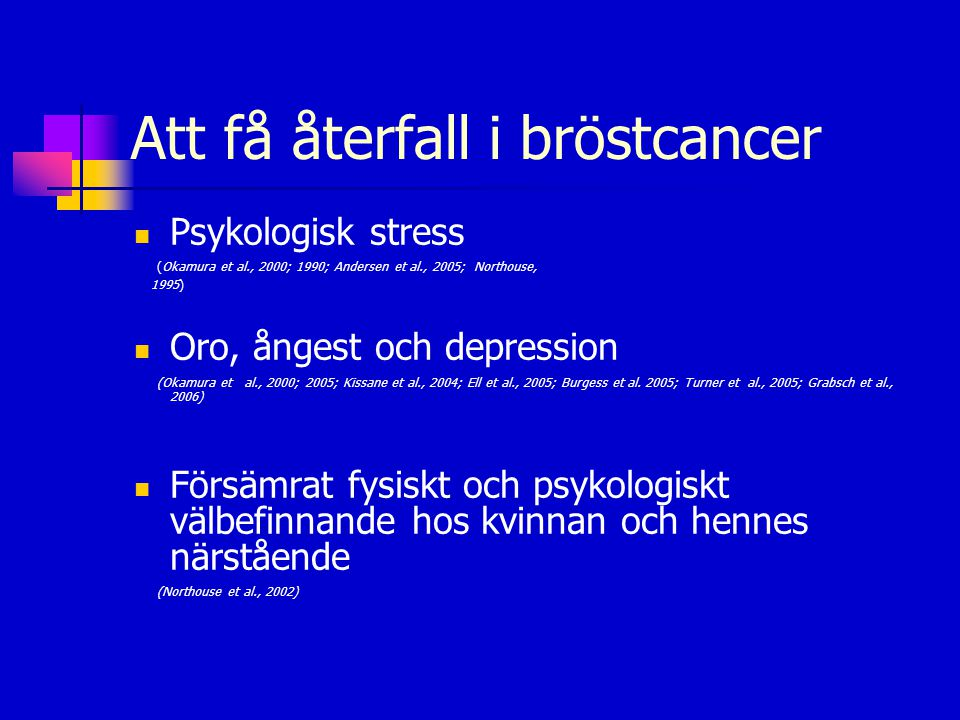 Att få återfall i bröstcancer  Psykologisk stress (Okamura et al., 2000; 1990; Andersen et al., 2005; Northouse, 1995)  Oro, ångest och depression (Okamura et al., 2000; 2005; Kissane et al., 2004; Ell et al., 2005; Burgess et al.
