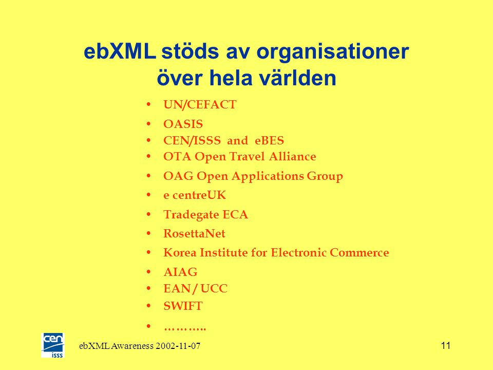 ebXML Awareness 2002-11-0710 Konkurrerande standarder .