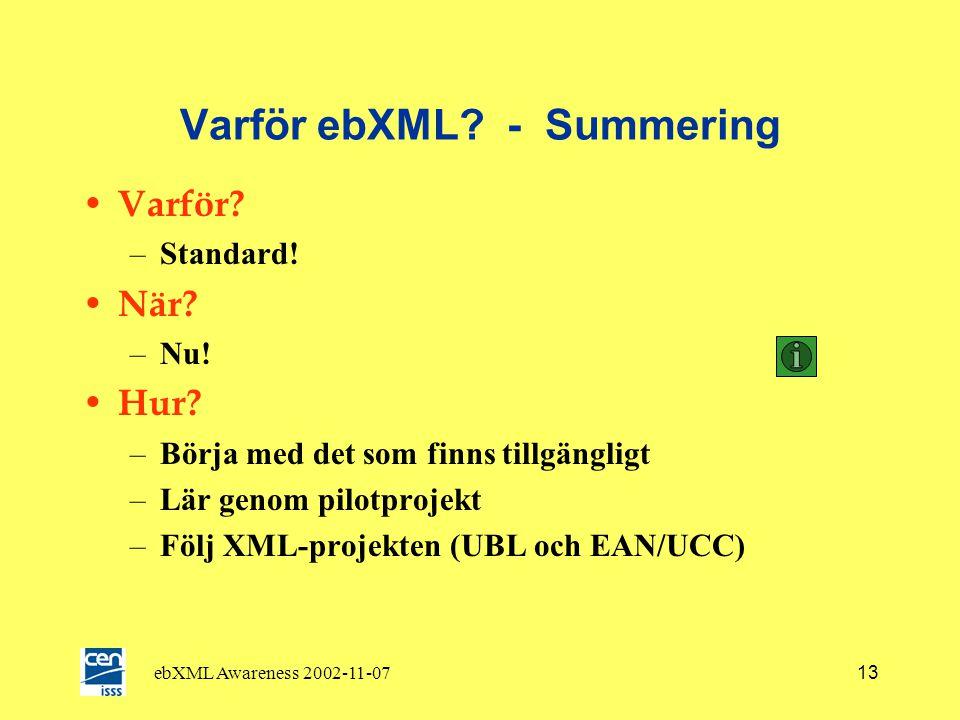 ebXML Awareness 2002-11-0712 ebXML här för att stanna! • Teknisk infrastruktur redan på plats • BP och CC tar längre tid –Edifact har haft 15 år på si