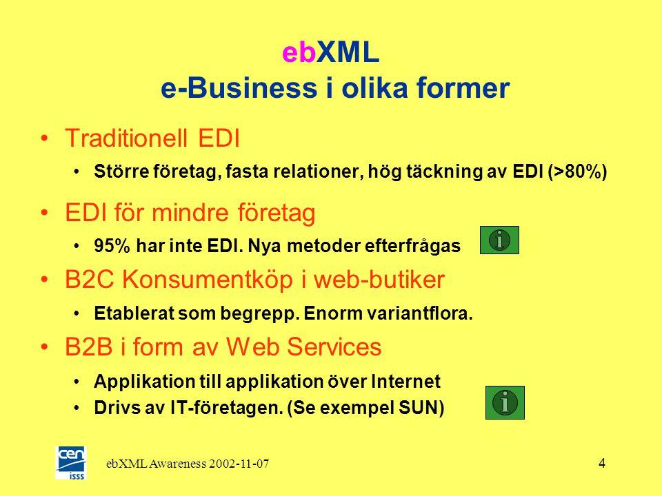 ebXML Awareness 2002-11-074 ebXML e-Business i olika former •Traditionell EDI •Större företag, fasta relationer, hög täckning av EDI (>80%) •EDI för mindre företag •95% har inte EDI.