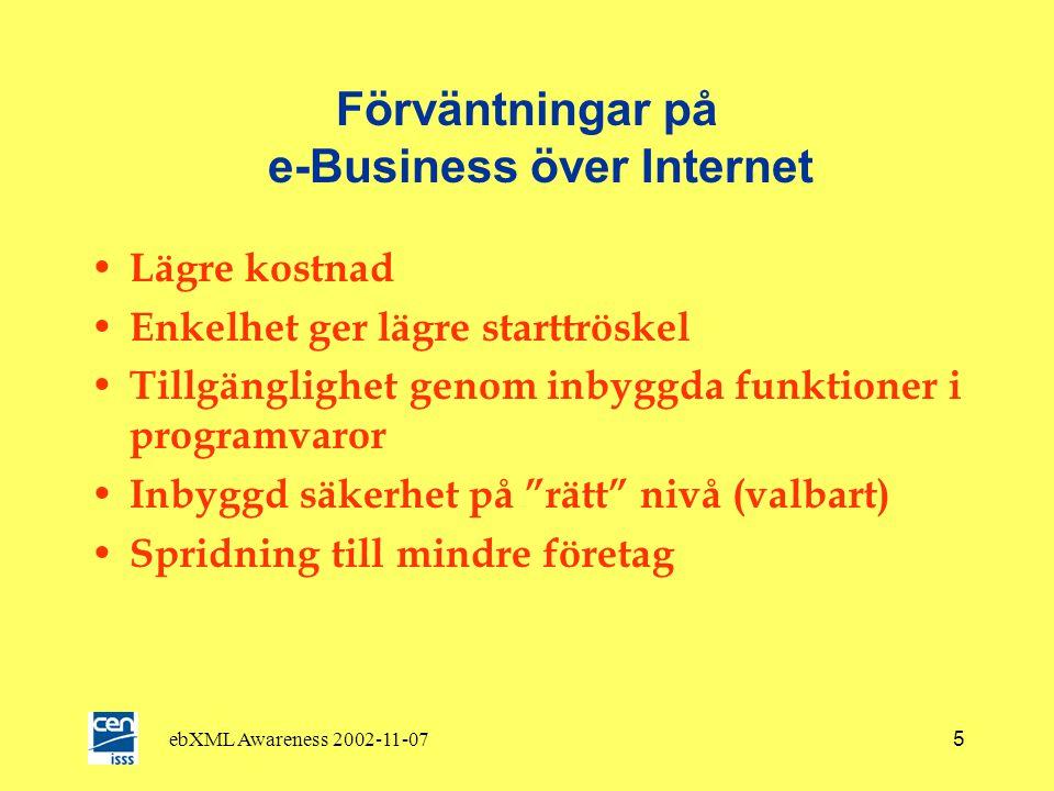 ebXML Awareness 2002-11-075 Förväntningar på e-Business över Internet • Lägre kostnad • Enkelhet ger lägre starttröskel • Tillgänglighet genom inbyggda funktioner i programvaror • Inbyggd säkerhet på rätt nivå (valbart) • Spridning till mindre företag