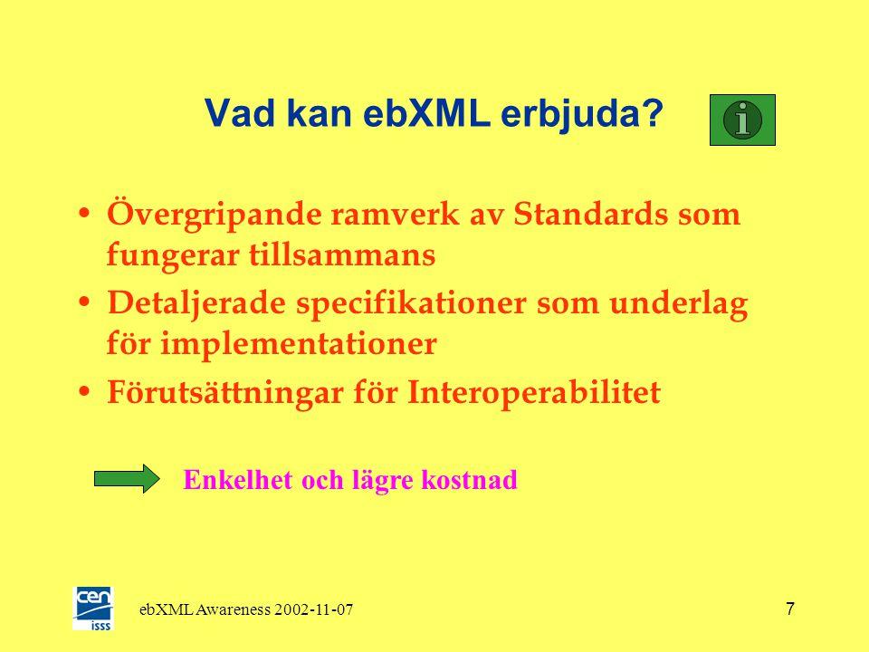 ebXML Awareness 2002-11-077 Vad kan ebXML erbjuda.