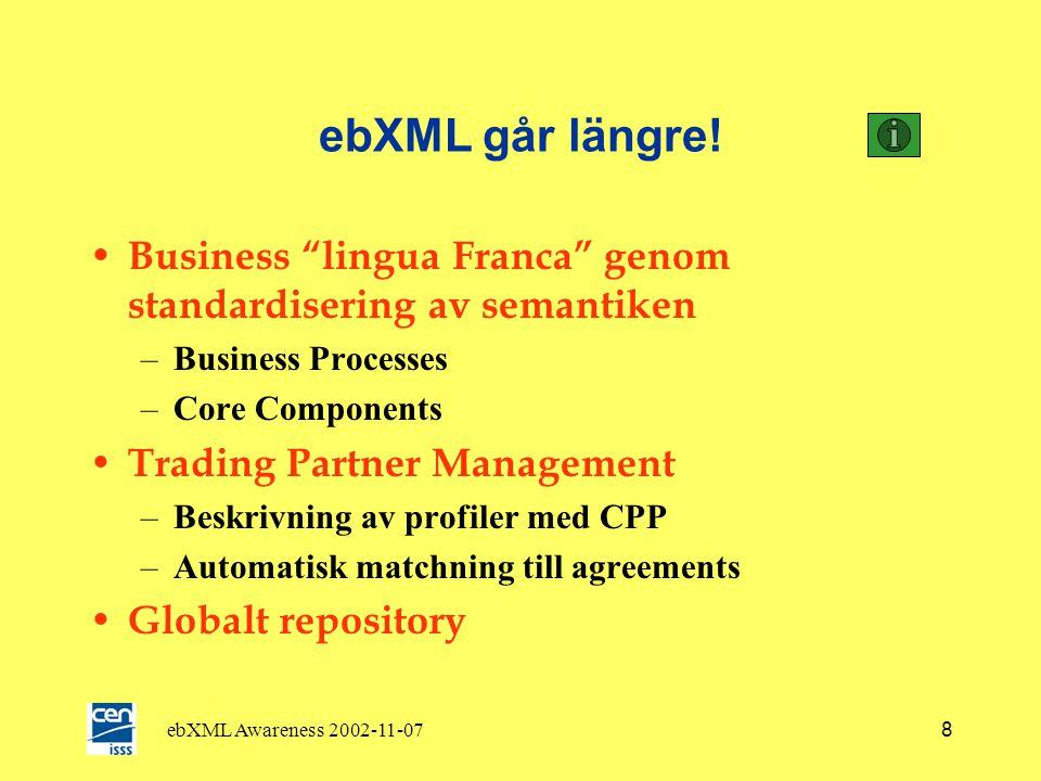 ebXML Awareness 2002-11-077 Vad kan ebXML erbjuda? • Övergripande ramverk av Standards som fungerar tillsammans • Detaljerade specifikationer som unde