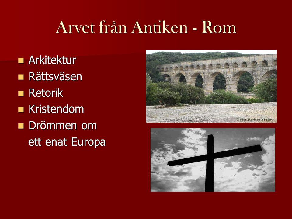 Arvet från Antiken - Rom  Arkitektur  Rättsväsen  Retorik  Kristendom  Drömmen om ett enat Europa ett enat Europa