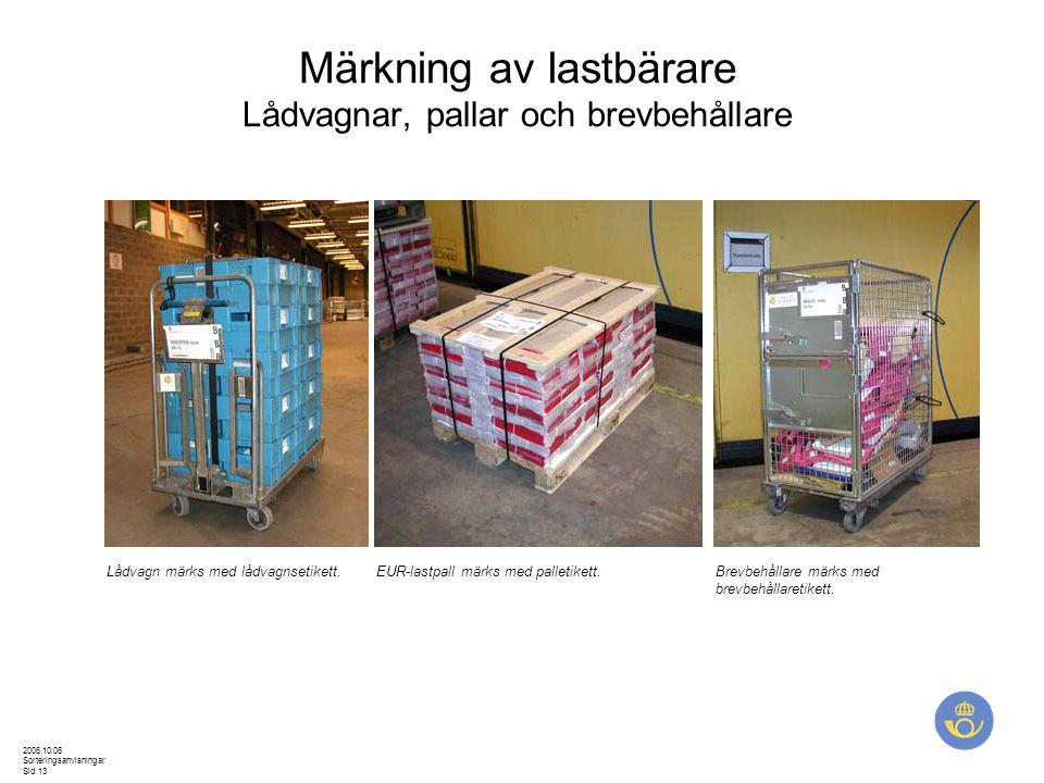 2006.10.06 Sorteringsanvisningar Sid 13 Märkning av lastbärare Lådvagnar, pallar och brevbehållare Lådvagn märks med lådvagnsetikett.EUR-lastpall märk