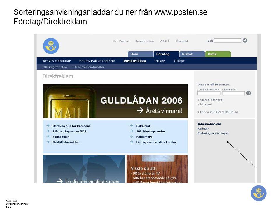 2006.10.06 Sorteringsanvisningar Sid 3 Sorteringsanvisningar laddar du ner från www.posten.se Företag/Direktreklam