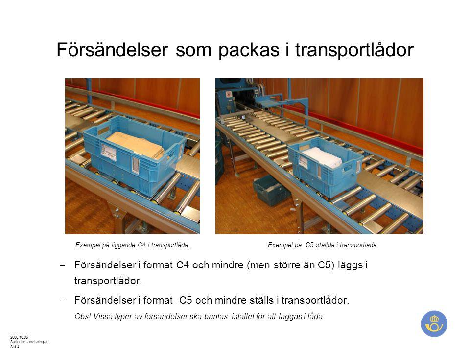 2006.10.06 Sorteringsanvisningar Sid 4 Försändelser som packas i transportlådor  Försändelser i format C4 och mindre (men större än C5) läggs i trans