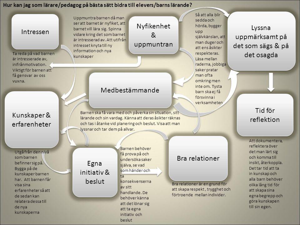 Intressen Bra relationer Nyfikenhet & uppmuntran Tid för reflektion Medbestämmande Egna initiativ & beslut Lyssna uppmärksamt på det som sägs & på det