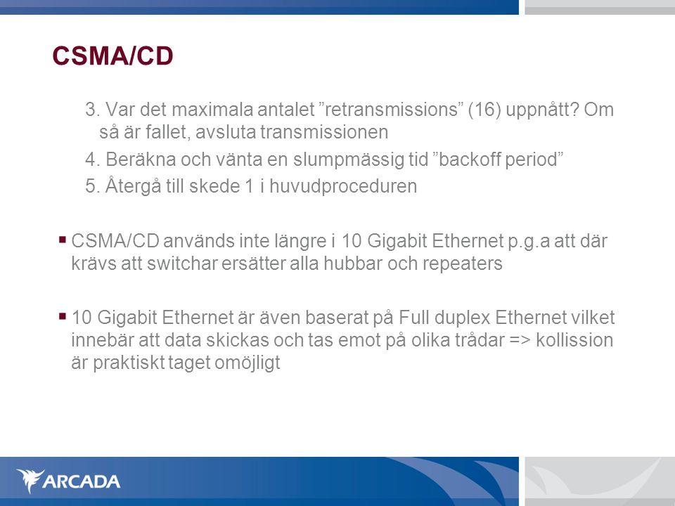 """CSMA/CD 3. Var det maximala antalet """"retransmissions"""" (16) uppnått? Om så är fallet, avsluta transmissionen 4. Beräkna och vänta en slumpmässig tid """"b"""