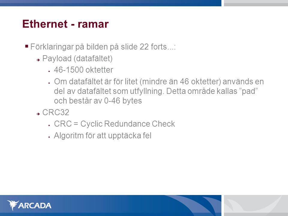 Ethernet - ramar  Förklaringar på bilden på slide 22 forts...:  Payload (datafältet)  46-1500 oktetter  Om datafältet är för litet (mindre än 46